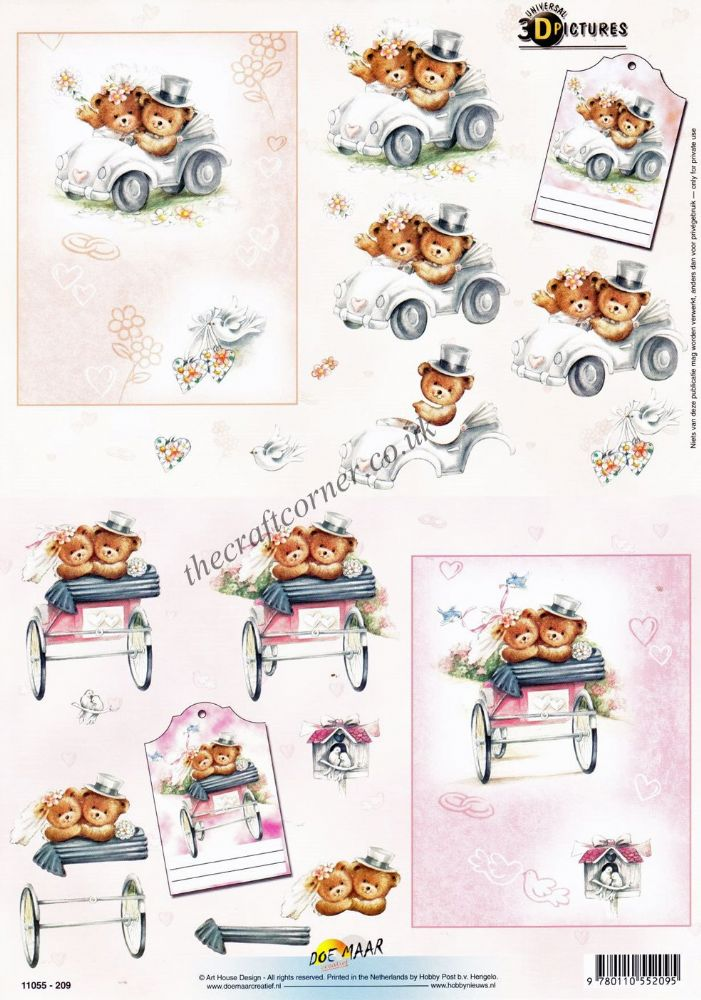 Wedding Day Teddy Bears 3d Decoupage Craft Sheet